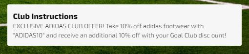 Use the code ADIDAS10 for a 10% discount on adidas footwear at soccer.com